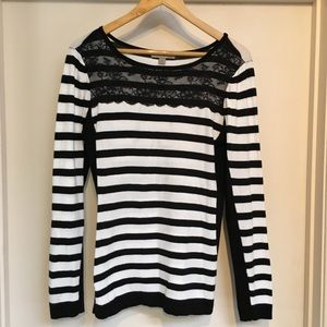 One A striped sweater with lace